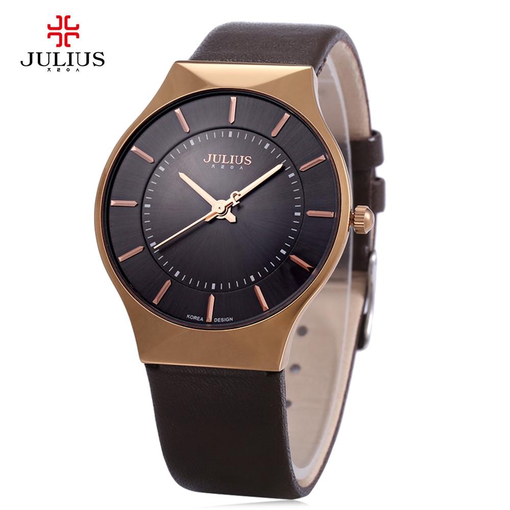 Prix pour Haut De Luxe Marque JULIUS Hommes Montres Ultra Mince Plein Véritable En Cuir Horloge Étanche Casual Sport Montre Hommes Quartz Montre Relogio
