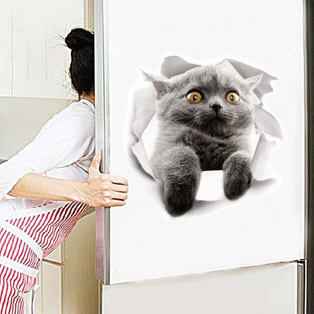 Urijk Sticker For Wall Fridge Toilet 3D Cute Vivid Dog And Cat Wall Stickers Self Adhesive Kids Wall Decals Home Decoration