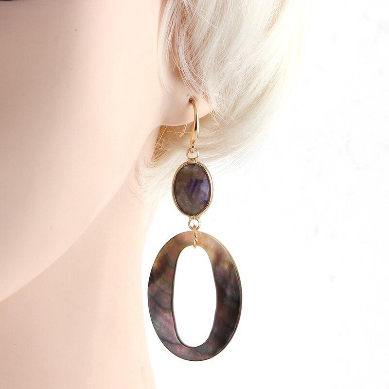 Sehuoran baumeln Ohrringe für Frau aus Naturstein und Ocean Shell - Modeschmuck - Foto 2