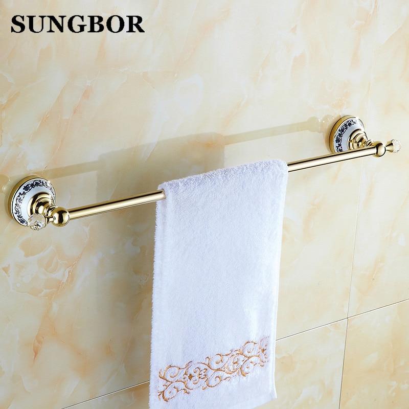 Golden Crystal Solid Brass Towel Rail Single Towel Bar Bathroom Towel Holder Bathroom Accessories GJ-5610K цена