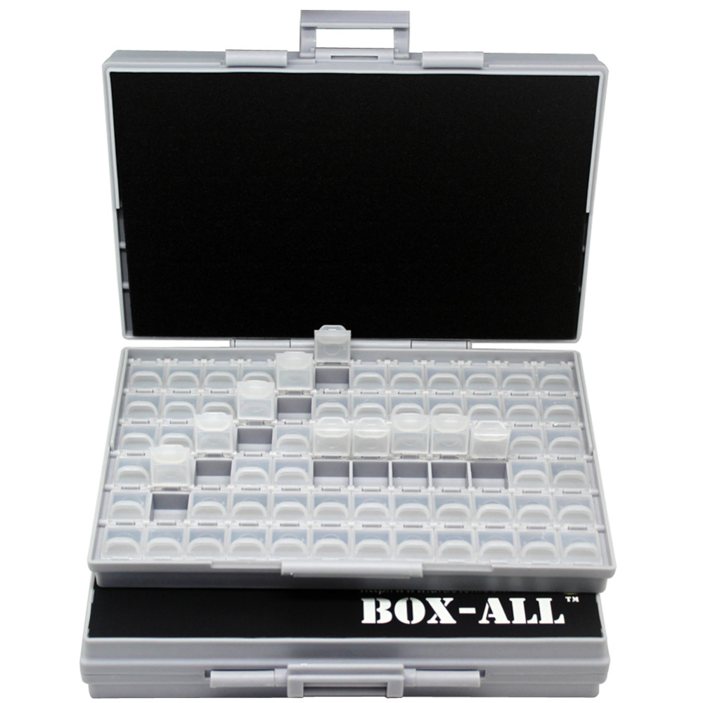 AideTek transparent box Enclosures SMD SMT Resistor Capacitor Organizer 0603 plastic storage box organizer Beads small