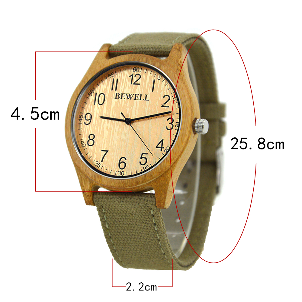 Unisex Watch Men Women Watches for Boys Ladies Canvas Strap Green Analogue Quartz Yellow Waterproof Natural Bamboo Handmad 124B in Quartz Watches from Watches