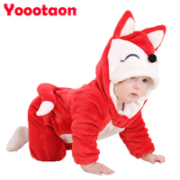 New Winter Spring Minion Hello Kitty Baby Clothes Cartoon Animal Jumpsuit Baby Girl Rompers Flannel Baby