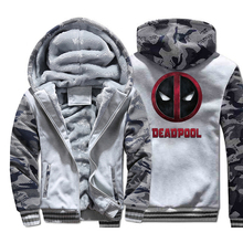 Deadpool Super Hero Mens Camouflage Hoodies 2019 Hot Winter Warm Fleece Thick Military Jackets Plus size Hooded For Fans M-5XL