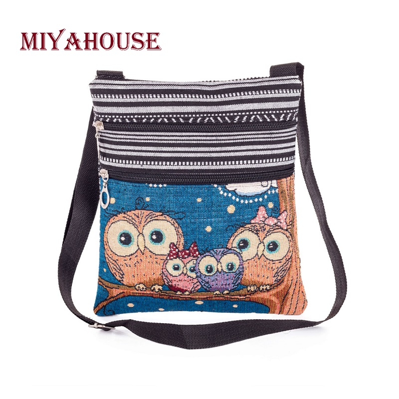 Miyahouse Casual Owl Printed Mini Messenger Bag For Female Canvas Design Cartoon Flap Bag Double Zipper Shoulder Bag Lady