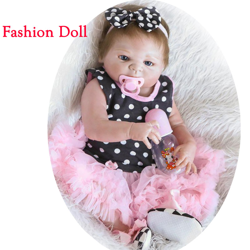 22inch Newborn Baby Dolls 55cm Full Body Silicone Reborn Doll Realistic Baby Doll Girl Baby Alive Dolls For Kids Birthday Gift simulation baby girl dolls with short yellow hair newborn realistic alive silicone 60cm height gift for kid house education doll