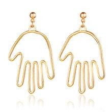 Hot Fashion Ancient Gold Pierced Fatima hamsa Hand Hook Earrings Dangle Drop Brincos For Women Jewelry Bohemian