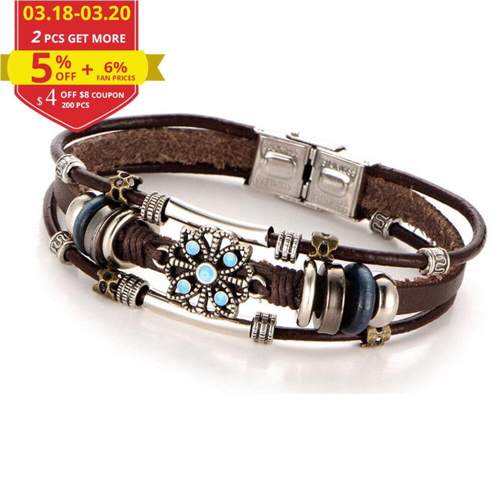 Купить на aliexpress 17 км 2 Стиль Vintage Цветочные браслеты и браслет Boho несколько слоев кожаный браслет ручной работы женские панк украшения для женщин человек