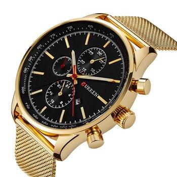 2017 CURREN nowy złote zegarki kwarcowe mężczyźni Top marka luksusowe zegarki na rękę złoty zegar męski zegarek kwarcowy Relogio Masculino 8227