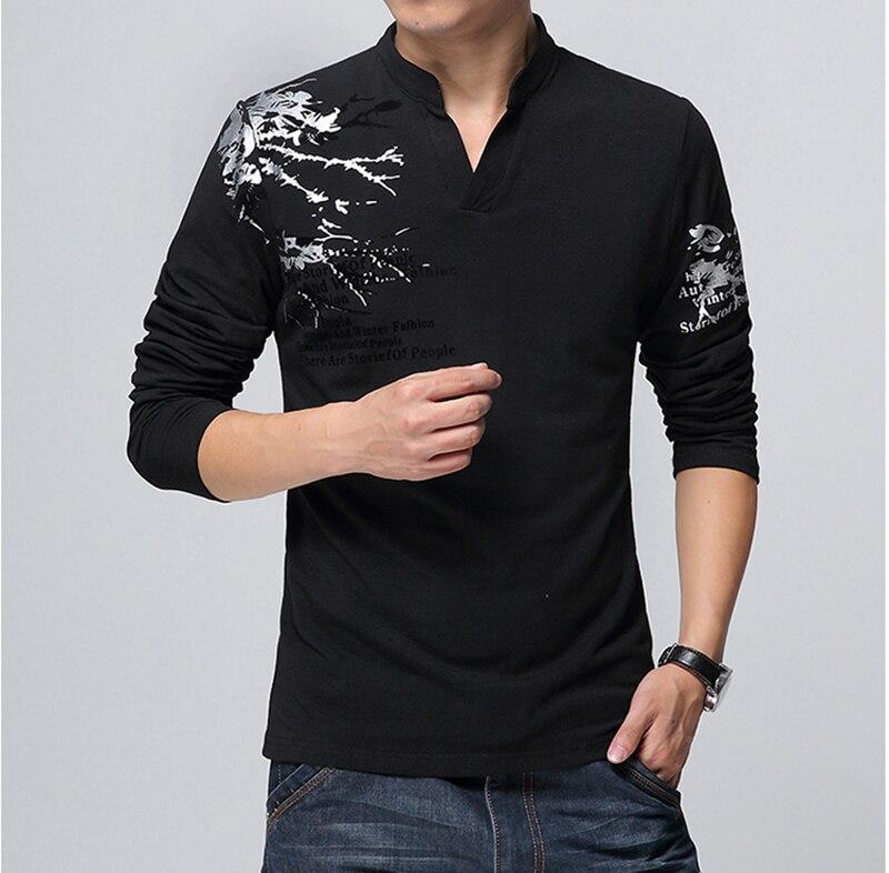 1699299d9a9 New Fashion Brand Trend Print Slim Fit Long Sleeve T Shirt Men Tee V-Neck  Casual Men T-Shirt Cotton T Shirts Plus Size M-5XL