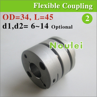 Motor And Ballscrew Double Disc Type Shaft Coupler 8mm To 10mm With Screw Clamp OD 34x45mm