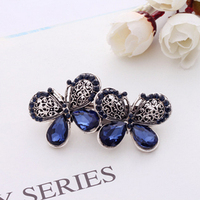 Top Sell Women Girl Cute Colorful Shinning Crystal Rhinestones Bows Hairpin Flower Hair Clip