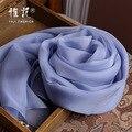 Genuine Mulheres Lenço de Seda 2016 Outono Verão Inverno Xale Lenços de Moda Azul Denim Cor Sólida de Alta Qualidade