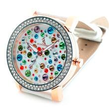 Роскошные женские Часы Ювелирные Изделия Браслет Смотреть Полный Чешский Красочные Кристаллы Швейцарии Movt Повседневная Часы