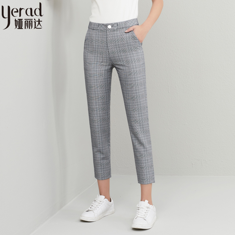 YERAD Fashion Trousers Pencil-Pant Zipper Fly Vintage Female Summer Plaid Ankle Office