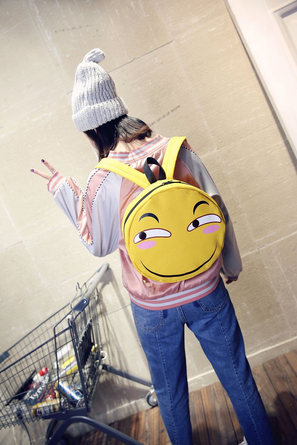 Funny expression bag double shoulder bag funny face casual bag second element spoof anime card around birthday gift