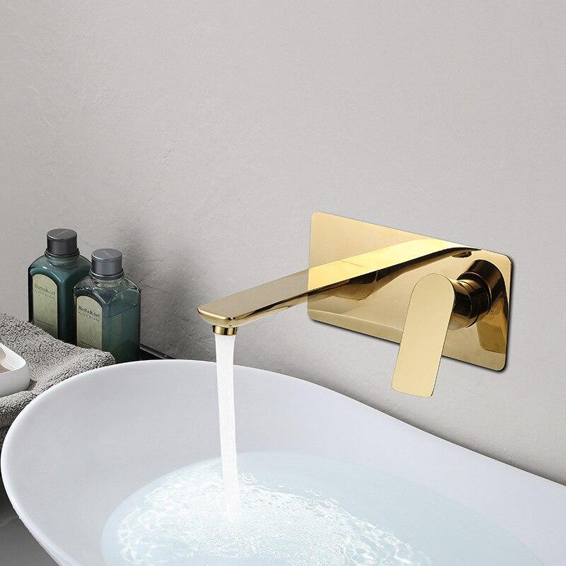 浴室のシンクミキサー盆地蛇口ウォールマウント洗面蛇口の滝のタップミキサー真鍮タップホワイト/ゴールド/グレー  グループ上の 家のリフォーム からの 流域水栓 の中 1