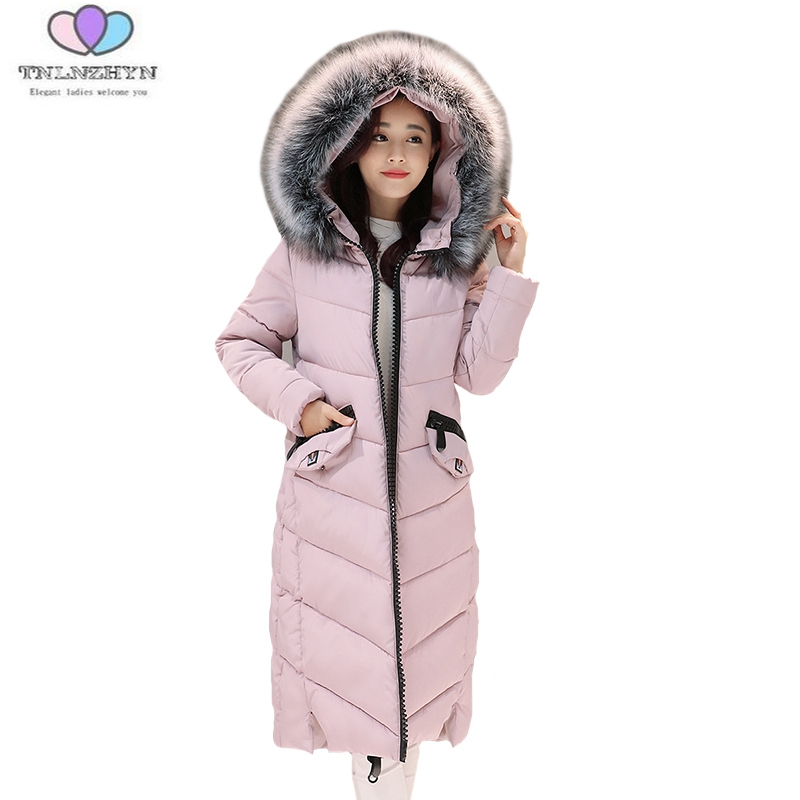 2017winter Women Coat Warm Fashion Large Fur Collar Medium Long Down Cotton Jacket Coat Thick Large size Hooded Coats E8 TNLNZHY 2017winter women coat warm fashion large fur collar medium long down cotton jacket coat thick large size hooded coats e8 tnlnzhy