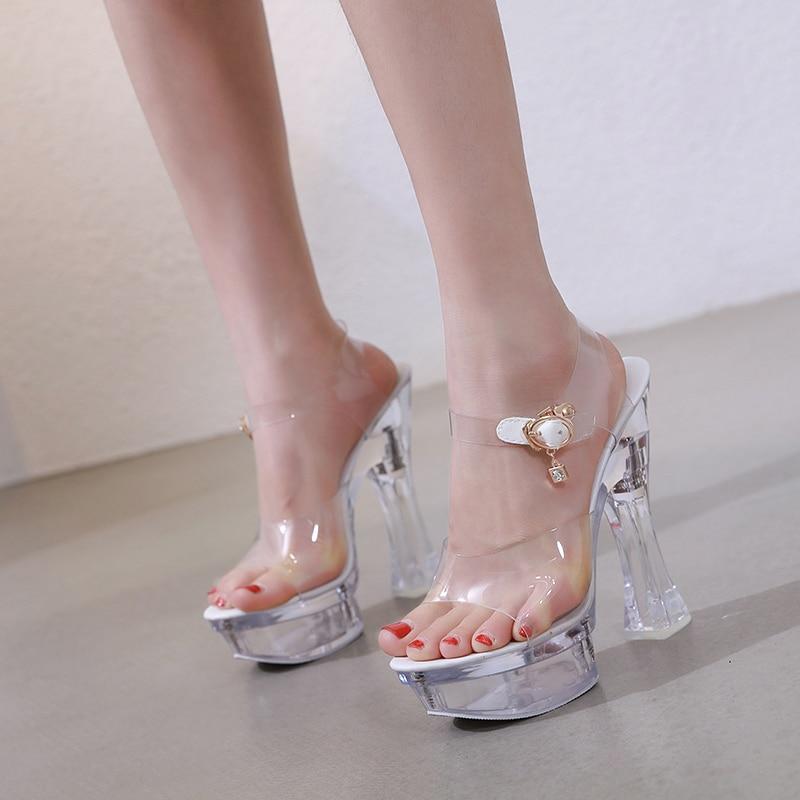 Steel Tube Dancing Female Shoes Crystal Transparent Shoes Women Summer High Heel 14.5CM Peep Toe Nightclub Sandals Wedding Shoes