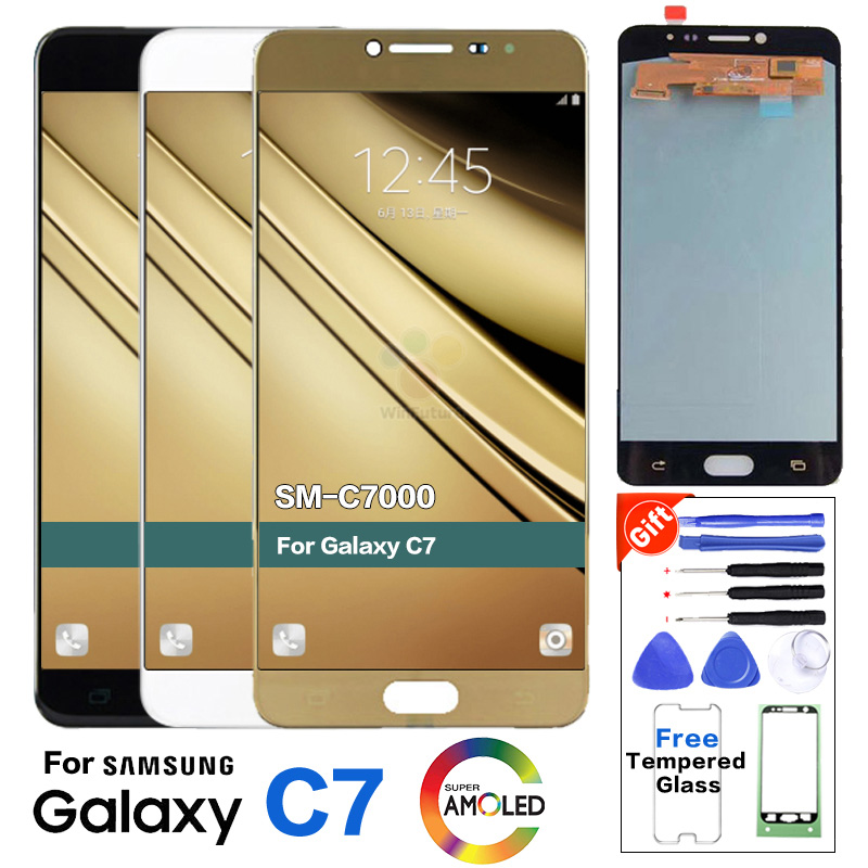 Super AMOLED Display For Samsung Galaxy C7 C7000 SM-C7000 LCD Display Screen Full Digitizer Touch Assembly