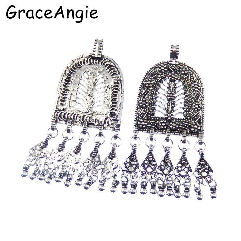 3 stks / pak Antiek Zilver Lichtmetalen Kwastje Ketting Oorbellen - Mode-sieraden - Foto 4