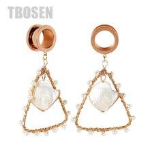 TBOSEN 2PCS Ear Stretcher Handmade Earrings Pearl Stainless Steel Tunnel Plugs Expander Screw Dangle Piercing Jewelry For Women