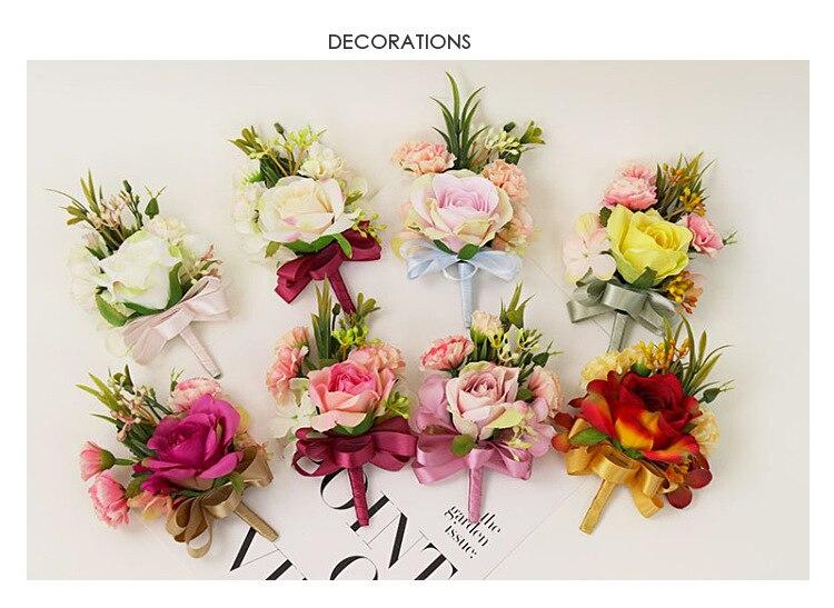 bridesmaid bracelet wedding corsage flowers roses artificial  (1)