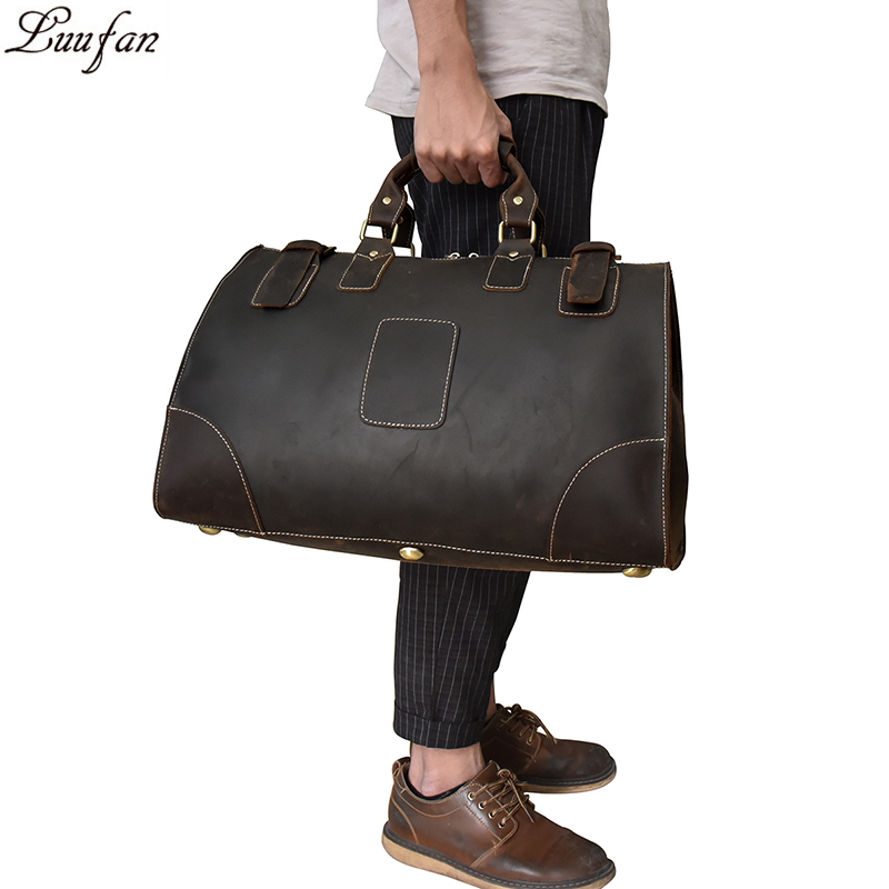 Big capacity Crazy horse genuine leather men travel bag High quality Cow Leather travel duffel weekend