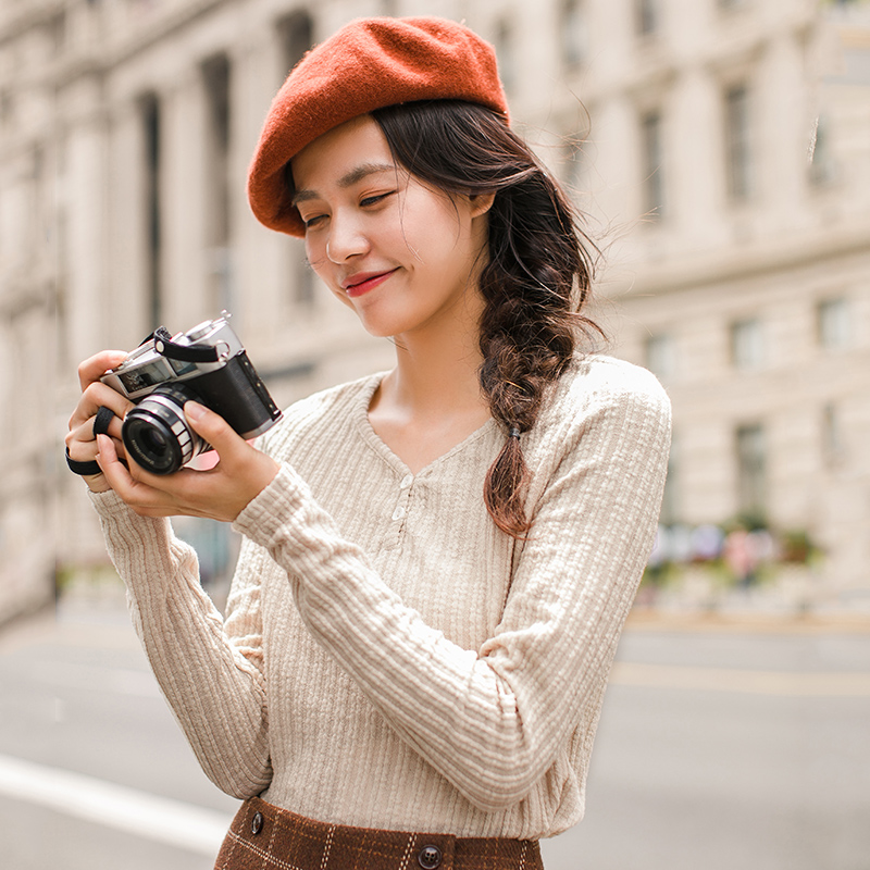 INMAN 2019 Autumn Winter Korean Style Solid Color V Neck Striped Tee Shirt Femme Fashion Women Ladies Long Sleeve Plain T Shirt