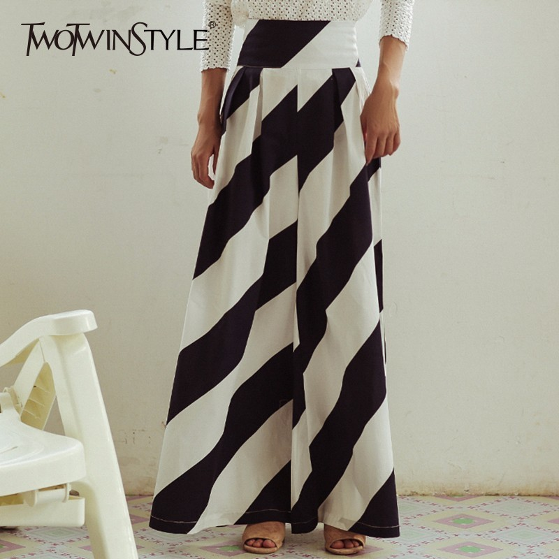 TWOTWINSTYLE Striped   Wide     Leg     Pant   For Women High Waist Large Size X Long Trouser Female 2018 Spring Elegant Fashion Clothing