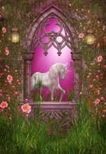 Laeacco Dreamy Arch Door Unicorn Party Baby Birthday Photography Backdrops Customized Photographic Background For Photo Studio 100% hand painted pro dyed muslin backdrops for photography studio customized photographic background wedding backdrops 10x10ft