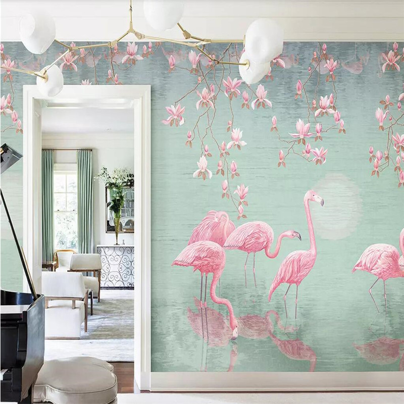 Magnolia Flamingo Nordic Background Wall Professional Production Mural Wallpaper Custom Poster Photo Wall