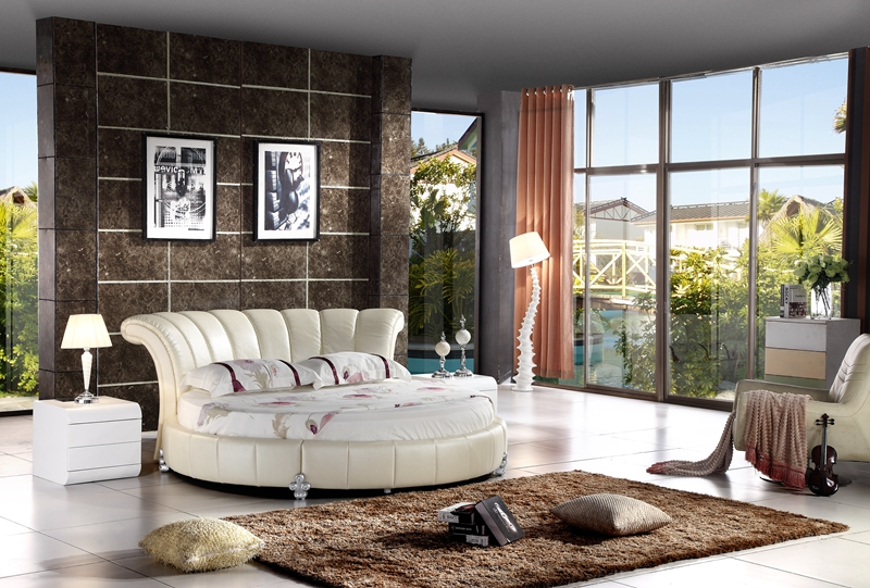 contemporary modern genuine leather round bed bedroom furniture Made in China multicultural questions family matters in contemporary fiction
