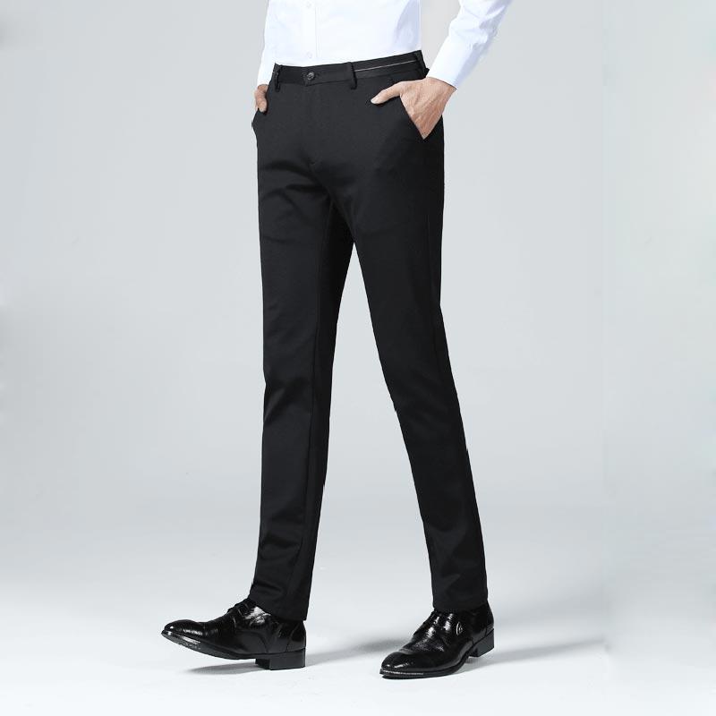 2019 Musim Semi Hitam Pria Bisnis Celana Fashion Slim Lurus Celana Pria Stretch Zipper Pria Kasual Celana Pantalones Untuk Hombre Aliexpress