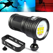 LED Diving Flashlight QH14-4 300W Six 9090 White XML2 Four XPE Red R5 Four XPE Blue R5 LED Underwater 80m for Photography Video