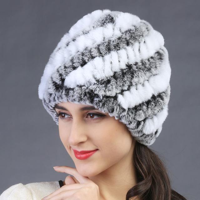 Otoño invierno de las nuevas mujeres conejo Real de punto sombrero de piel gruesa lana forro de invierno sombrero gato del sombrero del oído hermosa nieve capsulan bombardero sombreros