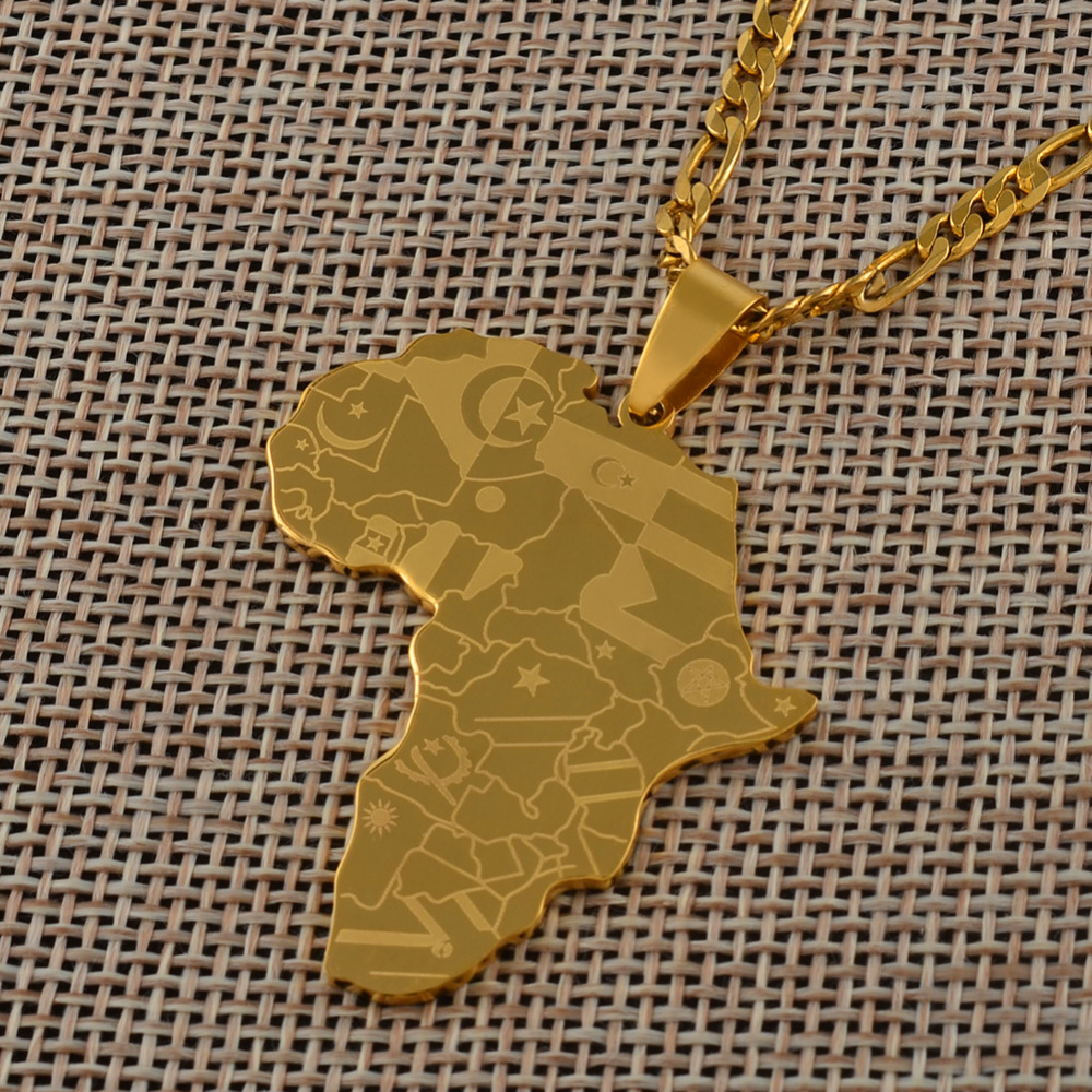 Anniyo Gold Color Africa Map With Flag Pendant Chain Necklaces African Maps Jewelry for Women Men #035321P(China)