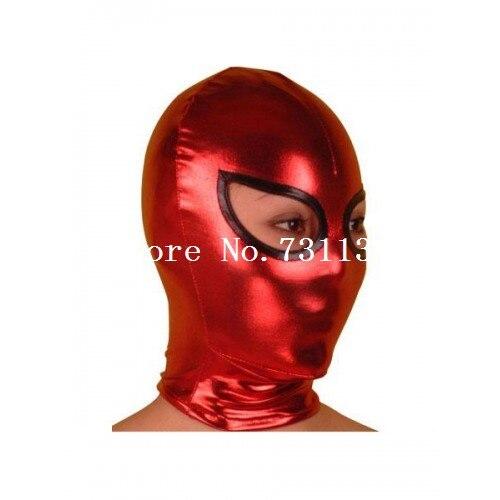 Горячая Хэллоуин забавная блестящая металлическая толстовка с капюшоном «zentai» унисекс маска - Цвет: Open Eye 2