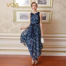 fbced64d61b1 VOA Silk Bohemian Long Dresses Women Summer Loose Flowing Sleeveless Print  Splice