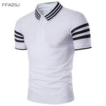 c730bd0393 FFXZSJ 2018 alta qualidade da moda verão homens casuais mangas curtas  simples moda mangas gola polo