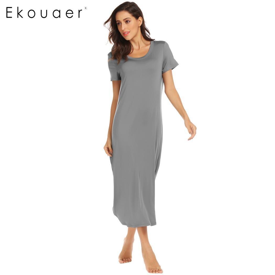 Ekouaer Casual Long Nihtgowns Sleepwear Dress O-Neck Short Sleeve Women Solid Oversize Loose Nightdress Lounge Wear Sleepshirts