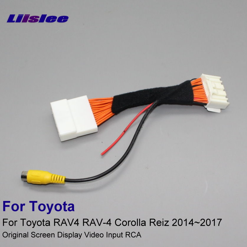 28 Pins RCA Adapter Wire For Toyota RAV4 RAV-4 Corolla Reiz 2014~2017 Rear View Camera Original Display Input Cable
