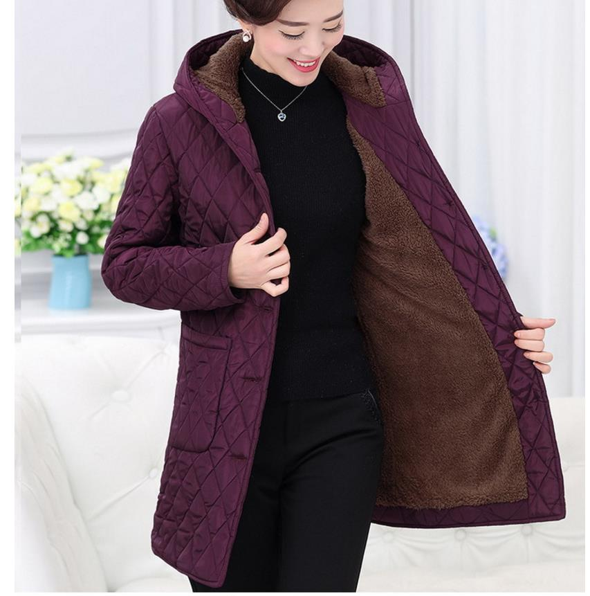 parkas   coat new winter women basic jacket plus velvet hooded down jacket middle-aged mother of winter coats 1099