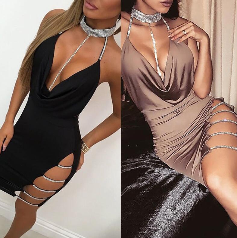 2019 Hollow Out Party Body con Bandage Dress Women New Off Shoulder Choker short Pencil Dress tight Backless Split Dress