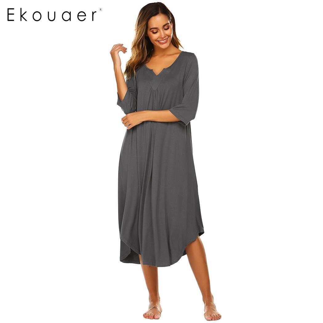 Ekouaer Women Lose Nightgown Summer Sleepshits V-Neck 3/4 Sleeve Solid Arc Hem Long Chemise Nightdress Female Nighties