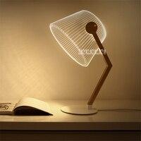 Neue Innovative 3D Vision Licht Lernen Lesen Tisch Lampe Holz Stand Tisch Lampe Acryl Bord Kreative LED Licht 110 240v 5W-in Buchlichter aus Licht & Beleuchtung bei