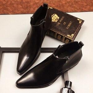 Мужские кожаные ботинки с высоким берцем, зимние ботинки для работы с острым носком, черные, желтые туфли-оксфорды для свадьбы, тактические ...