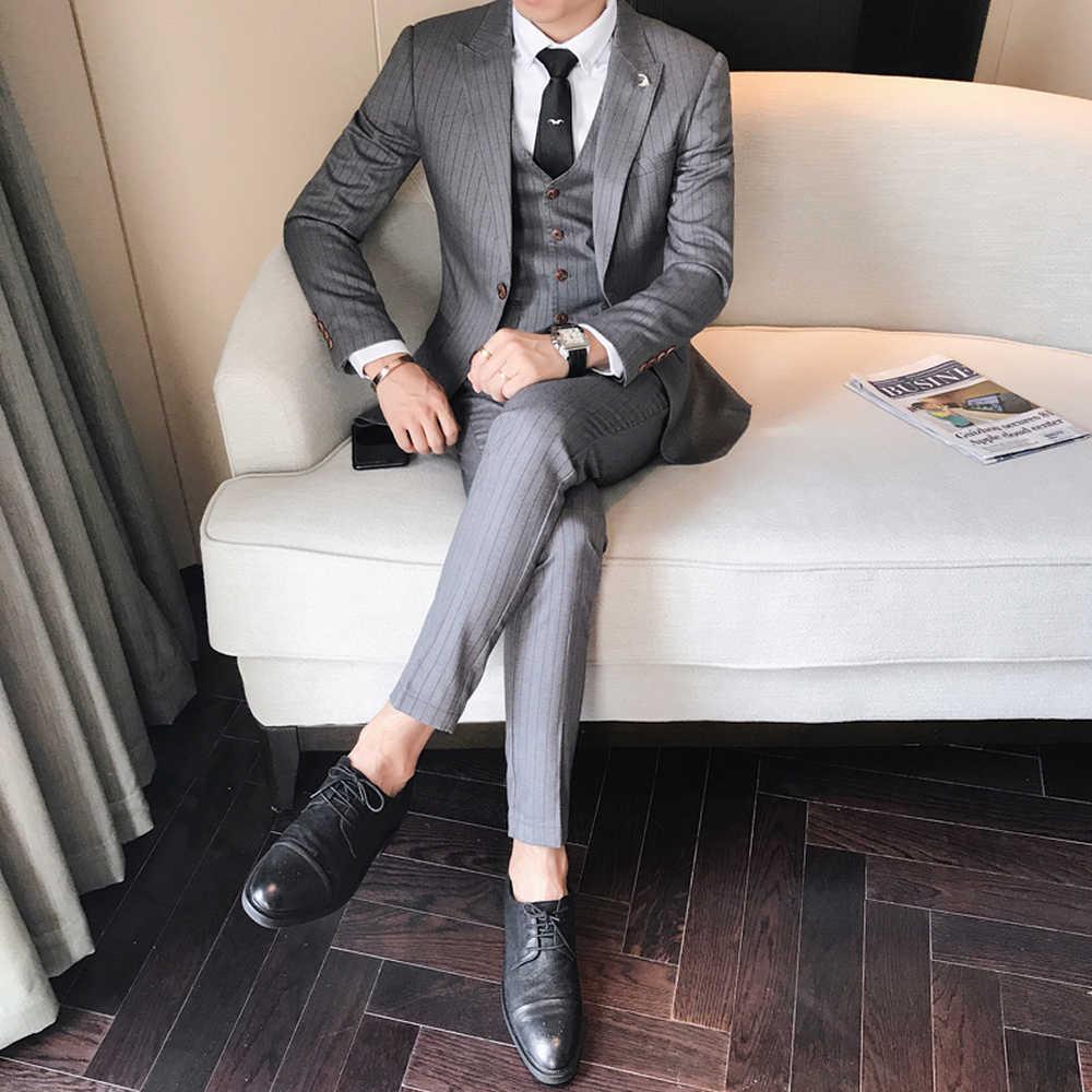 3 個最高品質のスーツ男性ファッションストライプ男性スーツメンズディナーパーティースーツタキシード花婿の付添人のウェディングドレス 4XL-M