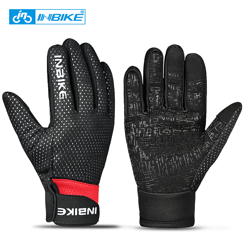 INBIKE Bike Gloves Winter Cycling Gloves Windproof Warm Outdoor Sports Hiking MTB Bicycle Gloves For Men Women Full Finger Glove rockbros cycling gloves full finger touch screen men women winter warm mtb bike bicycle windproof gloves for smartphone phone