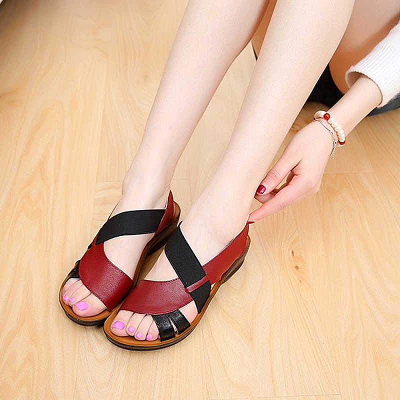 LAKESHI Zomer Vrouwen Sandalen Lederen Slip-On Vrouwen Schoenen Mode Zachte Bodem Moeder Sandalen Wig Sandalen Peep Toe Vrouwelijke schoenen